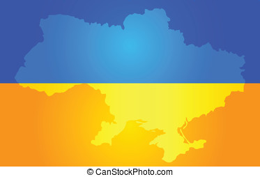 Map of Ukraine in National flag colors