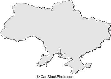 Political map of Ukraine with the several oblasts.