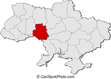 Political map of Ukraine with the several oblasts where Vinnytsia is highlighted.