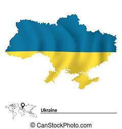 Map of Ukraine with flag