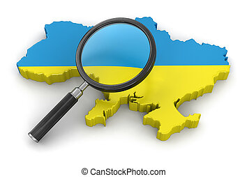 Map of Ukraine with loupe