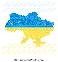 Map of Ukraine with national ethnic Ukrainian pattern inside.