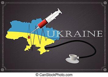 Map of Ukraine with Stethoscope and syringe.