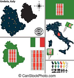 Map of Umbria, Italy - Vector map of region Umbria with coat...