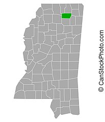 Map of Union in Mississippi