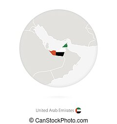 map of united arab emirates and national flag in a circle