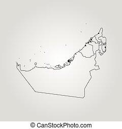 Map of the united arab emirates, abu dhabi highlighted. Political ...