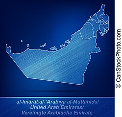 Map of United Arab Emirates with borders as scrible