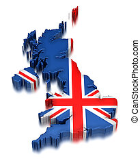 Map of United Kingdom. 3d render Image. Image with clipping path