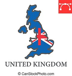 Map of United Kingdom color line icon, country and geography, Great Britain map flag sign vector graphics, editable stroke filled outline icon, eps 10.