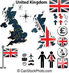 Map of United Kingdom - Vector of United Kingdom set with...