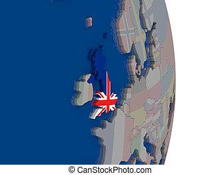 United Kingdom with its flag
