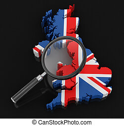 Map of United Kingdom with loupe