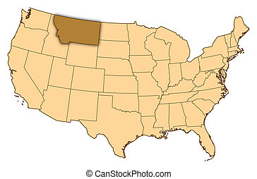 Map of United States, Montana highlighted