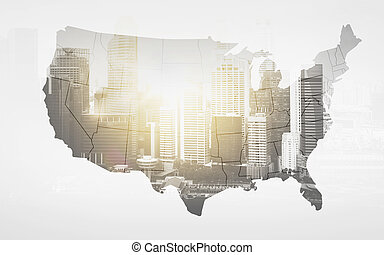 map of united states of america over city