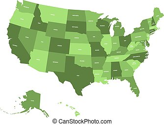 map of united states of america usa in four shades of green with white