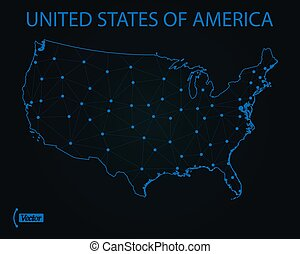 Map of United States of America. Vector illustration. World map