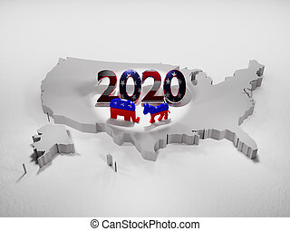 Map of United States of America with Republican and Democratic Party symbols with 2020 year - 3d rendering