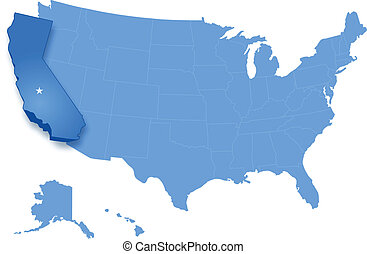 Map of United States with all states where California is...