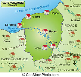 Map of Upper Normandy as an overview map in green