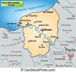 Map of Upper Normandy as an overview map in pastel orange