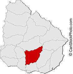 Map of Uruguay, Florida highlighted