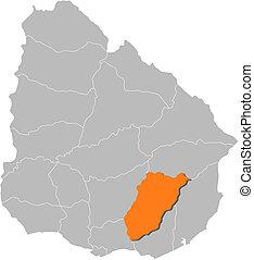 Map of Uruguay, Lavalleja highlighted