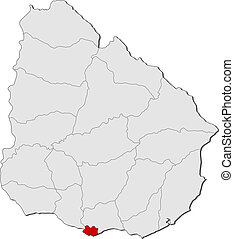 Map of Uruguay, Montevideo highlighted