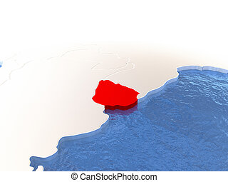 Map of Uruguay on globe