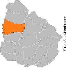 Map of Uruguay, Paysandu highlighted