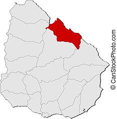 Map of Uruguay, Rivera highlighted