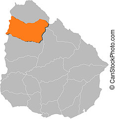 Map of Uruguay, Salto highlighted