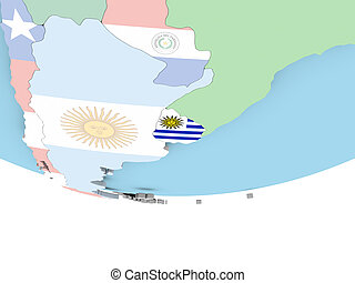 Map of Uruguay with flag on globe