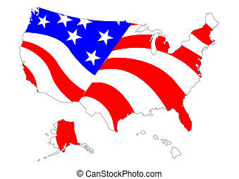 Map of US with flag