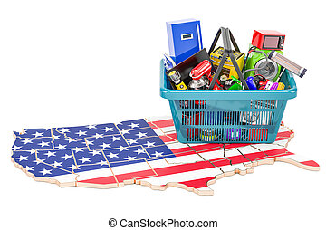 Map of US with shopping basket full of home and kitchen appliances, 3D rendering