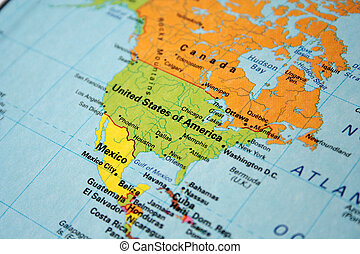 Stock Photo Of Antique Color Map North America Canada Mexico USA - Usa canada mexico map