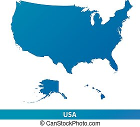Map of USA isolated on a white background.