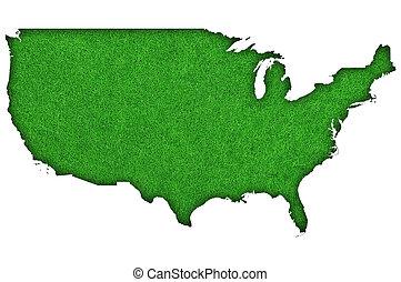 Map of USA on green felt