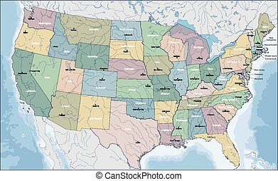 Map of USA - The United States of America is a federal ...