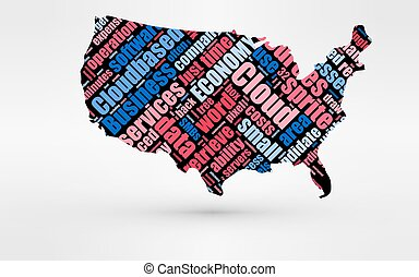 Map of USA. Theme of economy and global finance. Hi-tech technology as cloud computing, services, business, small companies, hr costs, time use and others.