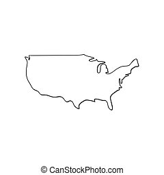 Map of USA vector icon isolated on white background