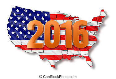 Map of USA with 2016