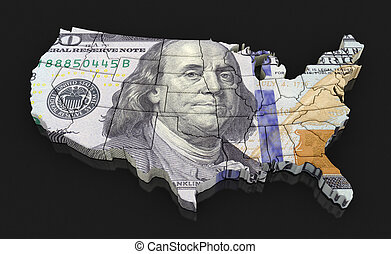Map of USA with dollar