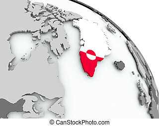 Map of USA with flag on globe