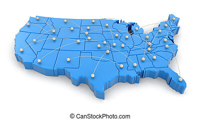Map of USA with flight paths