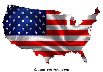Map of USA with national flag on fabric surface.