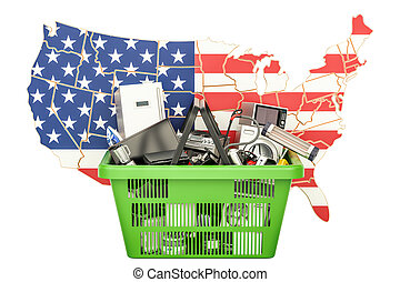 Map of USA with shopping basket full of home and kitchen appliances, 3D rendering
