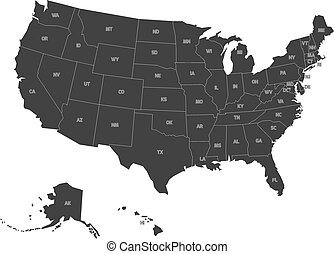 Map of usa with state abbreviations Map of united states od