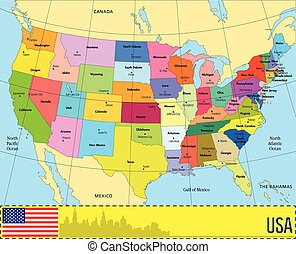 Usa map with names of states Usa states map with names of vector