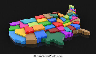 Map of USA.Image with clipping path